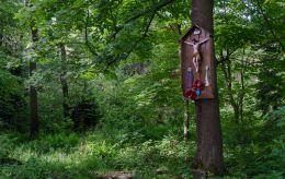 Przydrożna drewniana kapliczka na drzewie. Chełmsko Śląskie, gmina Lubawka, powiat kamiennogorski.