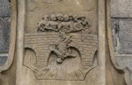 Fragment pomnika św. Jana Nepomucena z 1727 r. stojący przed katedrą św. Stanisława i św. Wacława. Świdnica, powiat świdnicki.