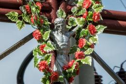 Krzyż przydrożny, metalowy. Jedlina-Zdrój, powiat wałbrzyski.