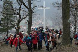 Biały Krzyż na Bardzkim obrywie skalnym. Bardo, powiat ząbkowicki.