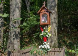 Przydrożna drewniana kapliczka skrzynkowa na słupku. Laskowa, powiat limanowski.