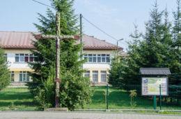 Drewniany krzyż przydrożny. Ujanowice, gmina Laskowa, powiat limanowski.