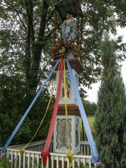 Przydrożna kapliczka murowana. Śleszowice, gmina Zembrzyce, powiat suski.