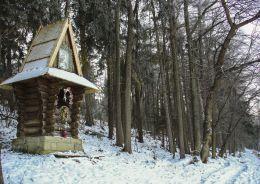 Przydrożna kapliczka domkowa, drewniana. Sidzina, gmina Bystra-Sidzina, powiat suski.