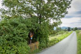 Drewniany krzyż przydrożny. Dzierżaniny, gmina Zakliczyn, powiat tarnowski.