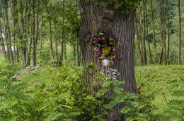 Przydrożna kapliczka, na drzewie. Bruśnik, gmina Ciężkowice, powiat tarnowski.