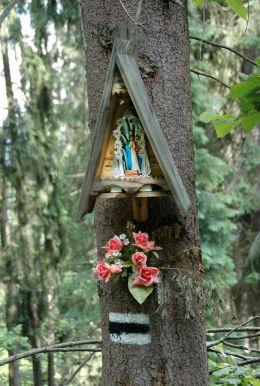 Przydrożna drewniana kapliczka skrzynkowa na drzewie. Zakopane - Gubałówka, powiat tatrzański.