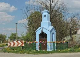Przydrożna kapliczka domkowa murowana. Kadłubska Wola, gmina Radzanów, powiat białobrzeski.