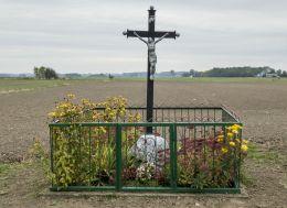 Przydrożny krzyż przy ulicy Szkolnej. Władysławowo, gmina Opinogóra Górn, powiat ciechanowski.