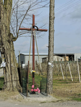Krzyż przydrożny, metalowy. Michałów Górny, gmina Warka, powiat grójecki.