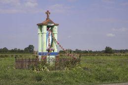 Przydrożna kapliczka z 1953 r. przy drodze do Komorowa. Zagórze, gmina Wieniawa, powiat przysuski.