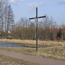 Krzyż przydrożny metalowy. Jabłonica, gmina Wieniawa, powiat przysuski.