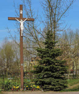 Krzyż przydrożny przy ulicy Zbrowskiego. Radom, Gołębiów, Radom.