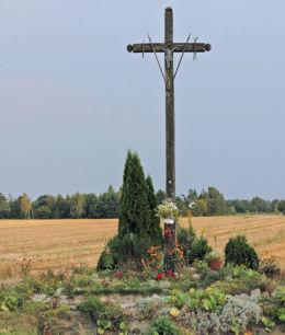 Krzyż przydrożny drewniany przy drodze nr 737. Antoniówka, gmina Jedlnia-Letnisko, powiat radomski.
