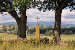 Krzyż przydrożny stojący na skraju dawnego cmentarza cholerycznego. Czadrów, gmina Kamienna Góra, powiat kamiennogorski.