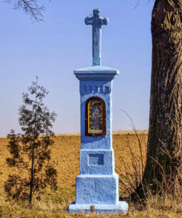 Przydrożna kapliczka z 1910 r. fundator Jan Wielgos. Futoma, gmina Błażowa, powiat rzeszowski.