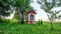Przydrożna kapliczka stojąca w polu. Kąkolówka, gmina Błażowa, powiat rzeszowski.