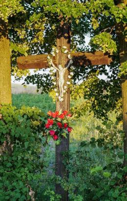 Krzyż przydrożny drewniany. Kąkolówka, gmina Błażowa, powiat rzeszowski.