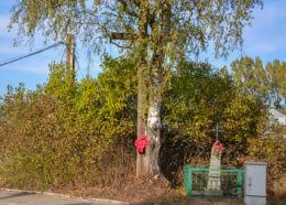 Krzyż przydrożny metalowy na kamiennym postumencie. Orla, powiat bielski.