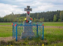 Przydrożny krzyż kamienny. Szernie, gmina Orla, powiat bielski.