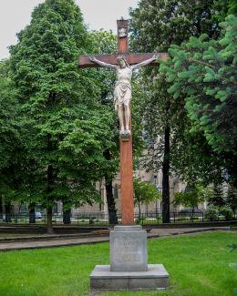 Krzyż z 2000 roku na skwerze przy kościele Mariackim. Katowice, Katowice.