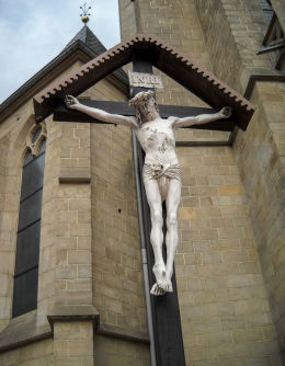 Krzyż przy Kościele Niepokalanego Poczęcia NMP zwany kościołem Mariackim. Plac ks. dr. Emila Szramka 1. Katowice, Katowice.