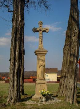Kamienny krzyż przydrożny Boża Męka z 1843 roku. Skrzyżowanie ulic 15 grudnia i Źródlanej. Mikołów, Mokre, powiat mikołowski.