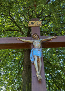Przydrożny krzyż drewniany. Mikołów, powiat mikołowski.