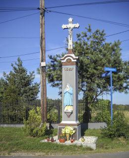 Kamienny krzyrz przydrożnyz 1865 roku, ul.Suszecka 9. Orzesze, Woszczyc, powiat mikołowski.