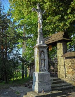 Najstarszy krzyż kamienny w Bełku,  wzniesiony w 1874 roku. Bełk, gmina Czerwionka Leszczyny, powiat rybnicki.