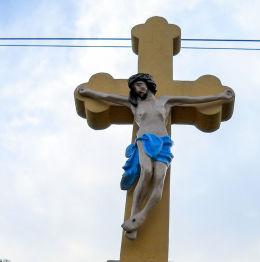 Fragment krzyża przy ulicy ul.Palowickiej z 1954 r. Bełk, gmina Czerwionka Leszczyny, powiat rybnicki.