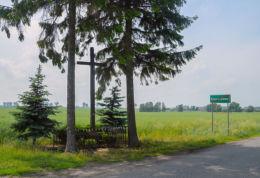 Krzyż przydrożny drewniany. Krzyszczewo, gmina Gniezno, powiat gnieźnieński.