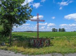 Krzyż przydrożny metalowy. Bądecz, gmina Wysoka, powiat pilski.