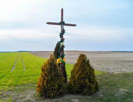 Przydrożny krzyż drewniany. Kruszewo, gmina Ujście, powiat pilski.