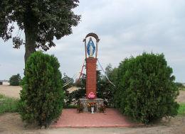 Przydrożna kapliczka Matki Boskiej przy drodze do Szczepowic. Drożdżyce, gmina Stęszew, powiat poznanski.
