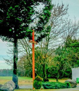 Krzyż przydrożny u zbiegu ulic Szerokiej i Rogalińskiej. Mieczewo, gm. Mosina, powiat poznanski.