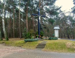 Pasyjny krzyż przydrożny przy wjeździe od strony Śremu. Mosina, powiat poznanski.