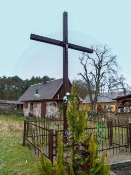 Drewniany krzyż przydrożny. Wilcze, gmina  Wolsztyn, powiat wolsztyński.