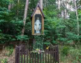 Kapliczka Matki Królowej Puszczy Wkrzańskiej, przy wyjeździe z Trzebieży w kierunku do Nowego Warpna. Trzebież, gmina Police, powiat policki.
