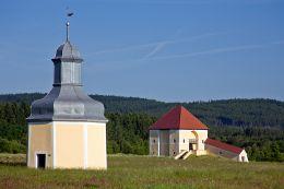 Przydrożna kapliczki, Kalwaria Krzeszowska. Krzeszów, gmina Kamienna Góra, powiat kamiennogorski.
