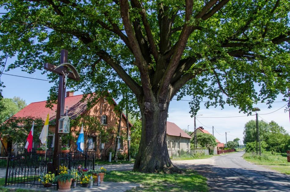 Przydrożny krzyż drewniany z kapliczką. Grabówka, gmina Milicz, powiat milicki.