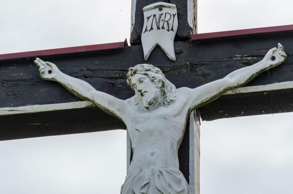 Fragment krzyża przydrożnego. Ruda Sułowska, gmina Milicz, powiat milicki.