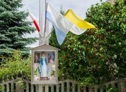 Kapliczka oszklona figurą Matki Boskiej na krzyżu przydrożnym. Sulimierz, gmina Milicz, powiat milicki.