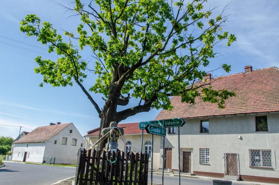 Kapliczka przydrożna stojącya na rozstaju dróg. Samborz, gmina Kostomłoty, powiat średzki.