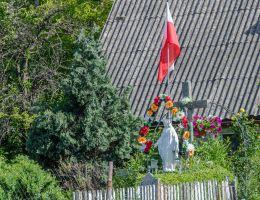 Figura święta na cokole. Jaroszów, gmina Strzegom, powiat świdnicki.