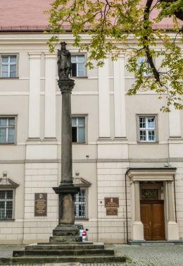 Kolumna św. Floriana z 1684 r. stojąca na dziedzińcu katedry św. Stanisława i św. Wacława. Świdnica, powiat świdnicki.