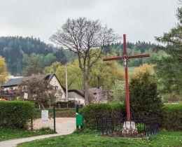 Przydrożny krzyż drewniany. Jedlina-Zdrój, powiat wałbrzyski.