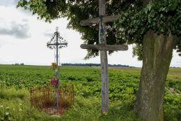 Przydrożny krzyż katolicki i krzyż lotaryński. Aurelin, gmina Uchanie, powiat hrubieszowski.