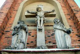 Grupa figuralna na ścianie prezbiterium kościoła franciszkanów - nagrobek fundatora Mikołaja Nieżychowskiego. Wschowa, powiat wschowski.