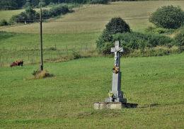 Krzyż w polu w Pętnej. Pętna, gmina Sękowa, powiat gorlicki.